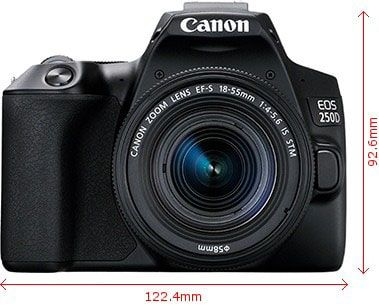 نمای روبروی دوربین کانن 250D